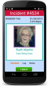Wander Alarm on Response Care, Android Device