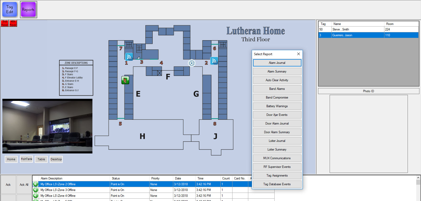 Customized community floor plan with event notification and reporting