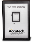 The Accutech Tag Test Station Allows Customers to turn tags on/off, check warranty date and see remaining battery percentage.