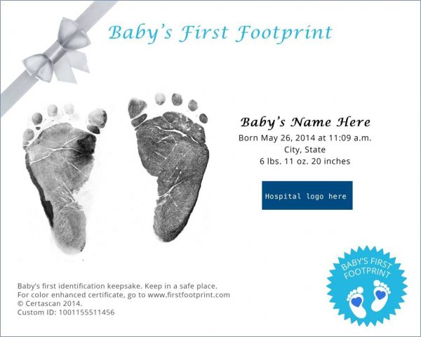Baby's first footprint certificate example